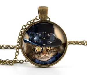 steampunk cat pendant