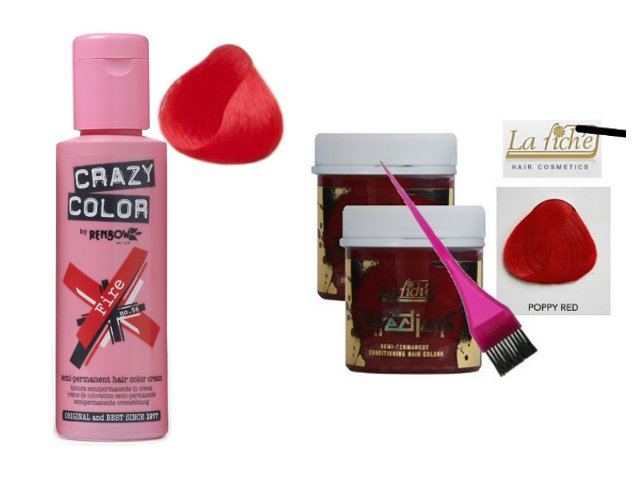 crazy color fire directions poppy red - Shampoing Colorant Rouge